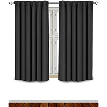 Amazoncom NICETOWN Black Blackout Curtains Panels Solid - Curtains and window treatments