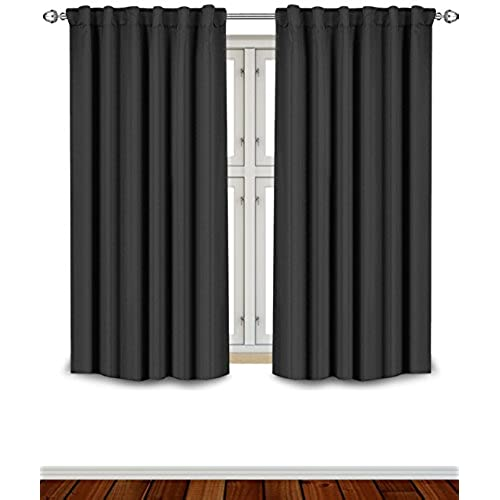 Exceptional Blackout Room Darkening Curtains Window Panel Drapes   Black Color 2 Panel  Set, 52 Inch Wide By 63 Inch Long Each Panel  7 Back Loops Per Panel, ...