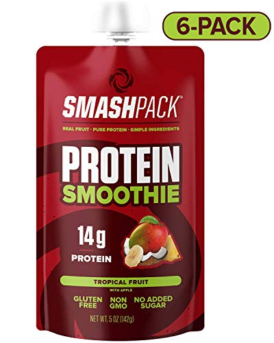 SmashPack Tropical Fruit Protein Fruit Smoothie Pouch 6 Pack | 14g Whey Protein with MCT Oil | Paleo Friendly, No Added Sugar, Gluten Free, Soy Free, Non-GMO | 100% BPA Free | 5 oz Squeeze Pouches ()