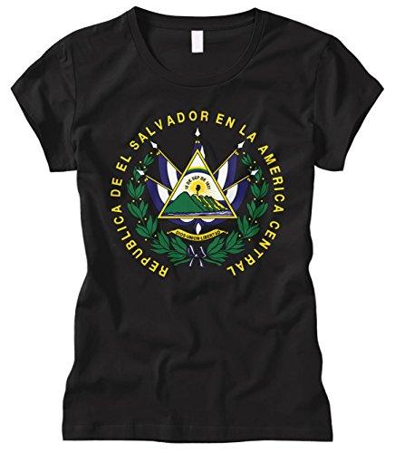 El Salvador Ladies (Cybertela Women's EL Salvador Coat Of Arms Fitted T-Shirt (Black, Small))