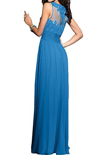 Lang mia Blau Abschlussballkleider La Hundkragen Abendkleider Spitze Braut Damen Brautmutterkleider PZpwqZ4d8