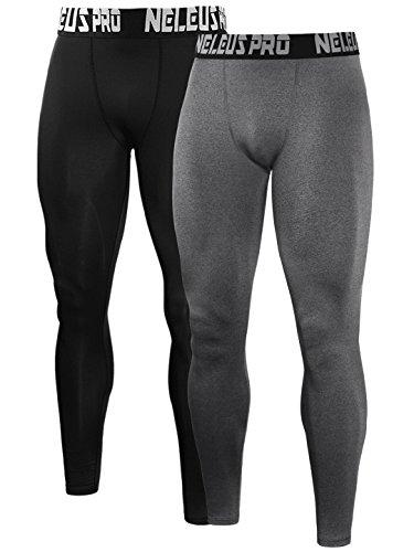 Neleus Men's 2 Pack Compression Tights Sport Running Leggings Pants,6019,Black,Grey,US M,EU L