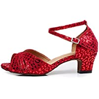 DKZSYIM Women's Latin Dance Shoes Comfortable Salsa Performance Practise Wedding Dance Shoes,Model QJW6187