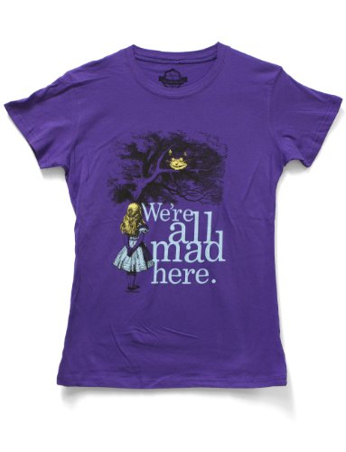 Wonderland Dress Code (Impact Juniors Alice In Wonderland We're All Mad Here T-Shirt, Purple,)