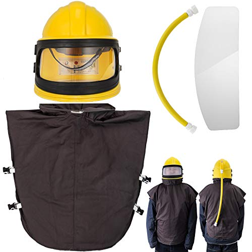 Mophorn Air Supplied Safety Sandblast Helmet ABS Helmet Sandblasting Hood Protector Two Lens Sandblasting Hood Helmet for Sandblasting Arc Spraying (Yellow)