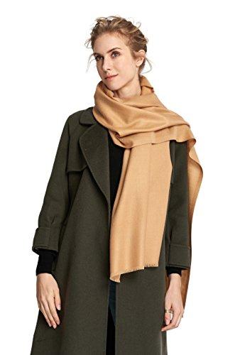 RIONA Women's Soild Basolan Wool Scarf - Super Soft Fashion Lightweight Neckwear for Spring & Fall(Camel) by RIONA (Image #8)