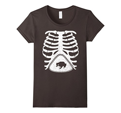Toad Costume Female (Womens Skeleton Maternity TOAD Funny T-Shirt XL Asphalt)