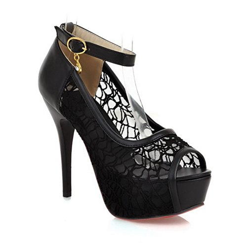 VogueZone009 Womens Open Peep Toe High Heel Platform Stiletto PU Soft Material Solid Pumps with Buckle, Black, 2.5 UK
