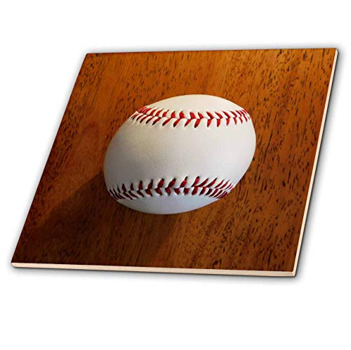 (3dRose Russ Billington Photography - Image of Single Baseball with Shadow on Woodgrain - 4 Inch Ceramic Tile (ct_295824_1))