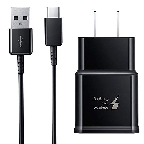 Samsung Note 9 Adaptive Fast Wall Charger 4 Ft Type-C to USB Cable Set for Galaxy S9, Galaxy S8, Note 8, S9 Plus, Quick Charger Set by IXIR (Fast Wall Charger + Type-C Cable) Charge up to 50% Faster
