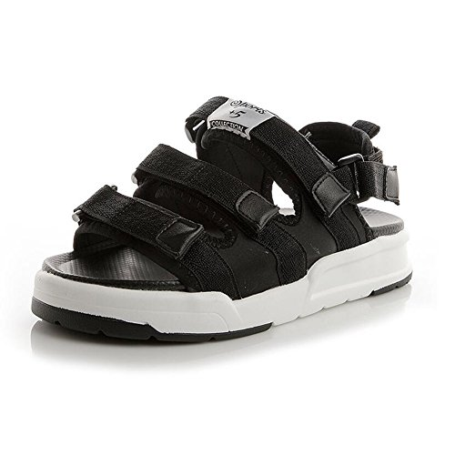 Sandals CJC Lady's Open Toe Chunky Wedge Heel Peep Toe Casual (Color : White, Size : EU39/UK6/CN39) Black