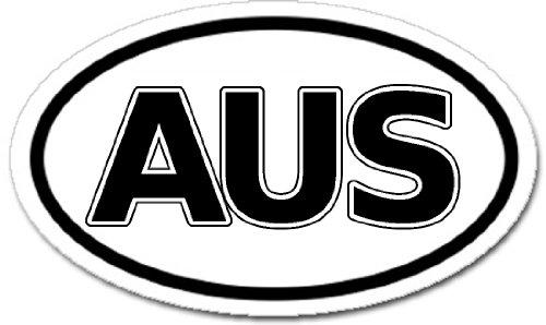 Australia AUS Car Bumper Sticker Decal Oval Black and White ()