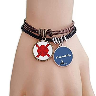 YMNW Red Abstract Christmas Decoration Origami Friendship Bracelet Leather Rope Wristband Couple Set Estimated Price -