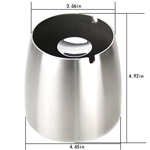 WOFO Large Stainless Steel Ashtray for Cigarettes Outdoor Windproof Ashtrays for Patio Beautiful Tabletop Ashtray for Bar/Home/Office Etc (Large) by WOFO