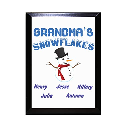 Style In Print Personalized Custom Text Snowman Family Grandma's Snowflakes Wood Wall Plaque Sign -9