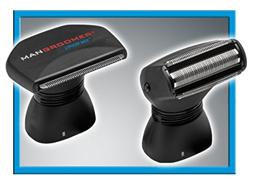 MANGROOMER Lithium Max Back Shaver With 2 Shock Absorber Flex Heads Power Hinge Extreme Reach Handle And Power Burst