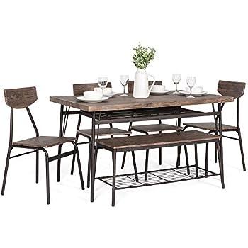 Awe Inspiring Amazon Com Metropolitan Brown Espresso 6 Piece Dining Set Unemploymentrelief Wooden Chair Designs For Living Room Unemploymentrelieforg