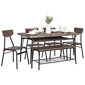 Best Choice Products 6-Piece 55in Modern Home Dining Set w/Storage Racks, Rectangular Table, Bench, 4 Chairs – Brown