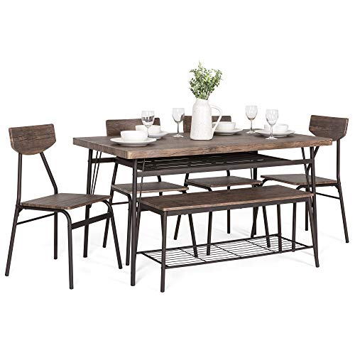 (Best Choice Products 6-Piece 55in Modern Wood Dining Set for Home, Kitchen, Dining Room w/Storage Racks, Rectangular Table, Bench, 4 Chairs, Steel Frame - Brown)