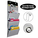 Onway Hanging File Folder Organizer/ File Pocket Chart, 3 Deep Pocket + 4 Tool Pocket Cascading Wall Organizer, Perfect for Home Organization, School Pocket Chart, Office Bill Filing, Include 2 Over the Door Metal Hanger