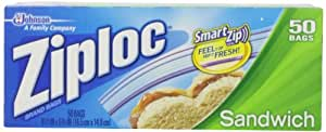 Ziploc Resealable Sandwich Bags, Plastic, 1.2 Mil, Clear, 50/Box