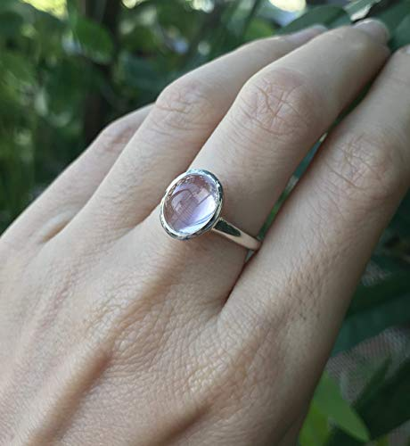 (Rose Quartz Oval Silver Ring Size 7)