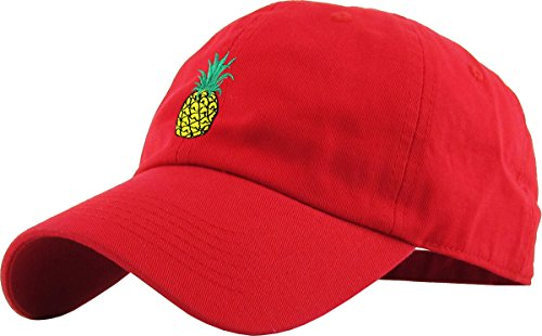 KBSV-021 RED Pineapple Dad Hat Baseball Cap Polo Style Adjustable