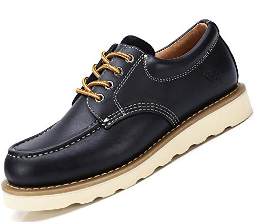 CAMEL CROWN Mens Work Shoes Safety Toe Boots Leather Moc Toe Casual Dress Shoes for Men Oxford Black 9.5 D(M) US ()