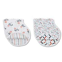 aden + anais tea collection burpy bibs 2 pack, fish pond