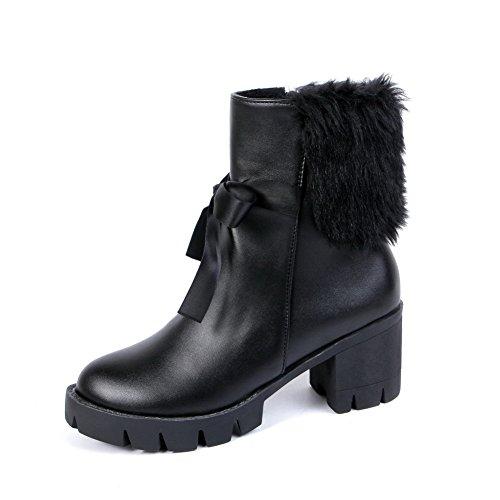 Allhqfashion Mujeres High-heels Soft Material Low-top Sólido Cremallera Botas Negro