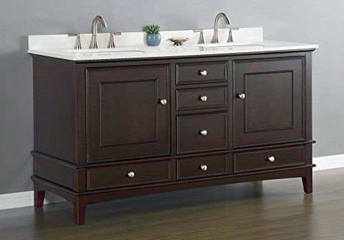 Cambridge Double Sink Vanity Set with Quartz Countertop Set, Espresso Finish,  60-inch by Mission Hills Furniture