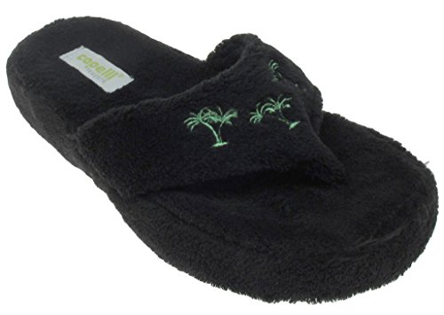 Capelli New York Ladies Palm Trees Design Indoor Slippers Black (Palm Tree Slipper)