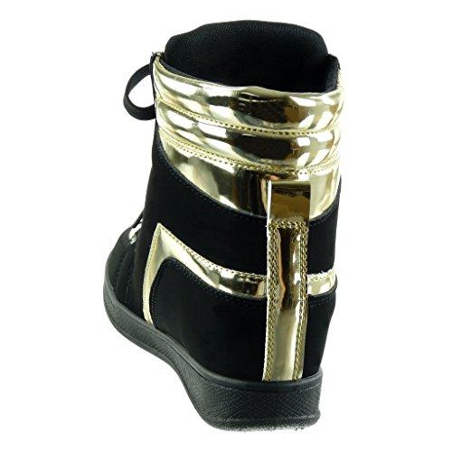 compensées pour Baskets 6 noir Golden Haut femme Angkorly Wedge cm gF5wEqE