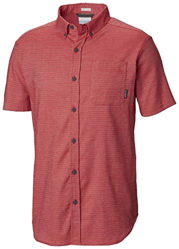 Columbia Men's Silver Ridge Lite Plaid Short Sleeve, Sunset Red Buff Check, Medium