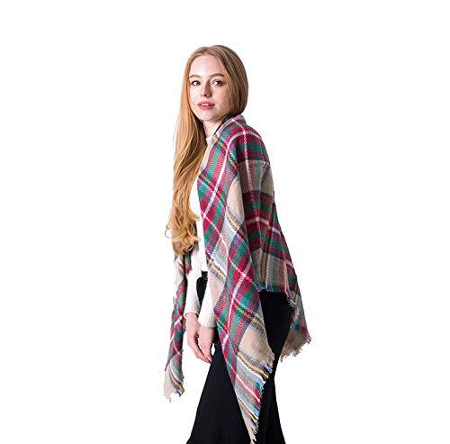 KUFA Soft Warm Tartan Plaid Scarf Shawl Cape Blanket Scarves Fashion Wrap