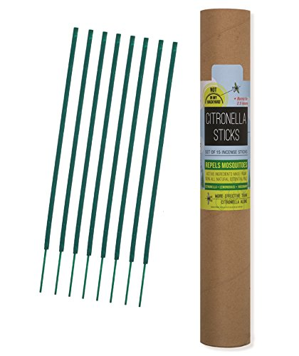 Not In My Backyard Citronella Sticks, All Natural Insect Repellent Incense Sticks 15 pack in Tube NB0004