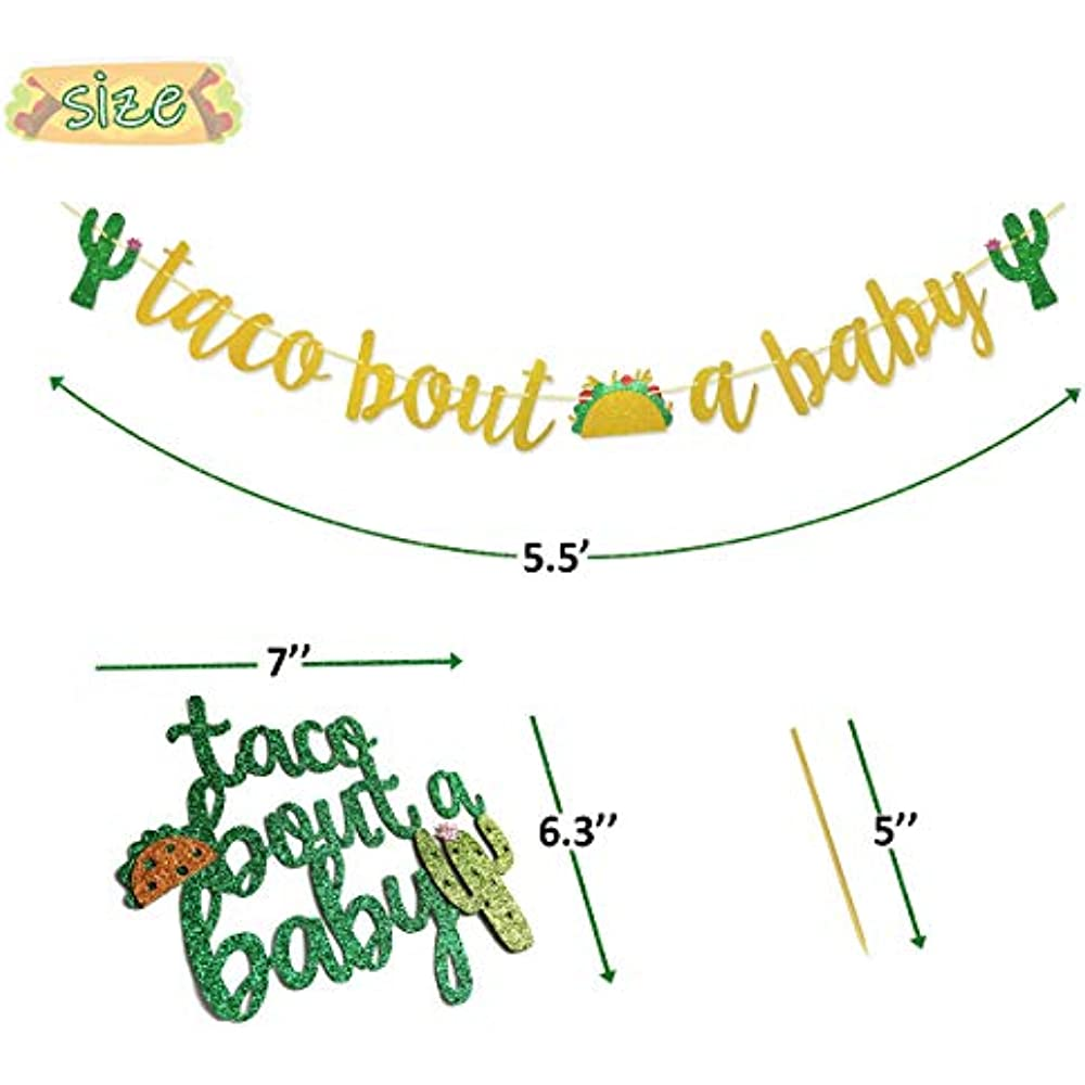 Baby Shower Banner Taco Bout A Baby Glitter Mexican Fiesta Reusable Durable