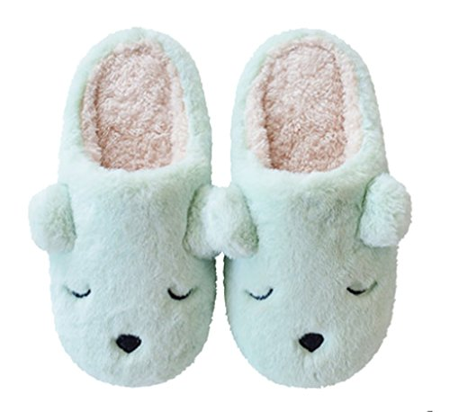 Cattior Dames Honden Fleece Comfortabele Warme Fuzzy Slippers Slaapkamer Slippers Blauw