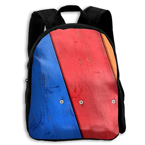 (PhyShen Red Blue Wooden Cabinet Oxford School Shoulder Bags Student Casual Double Zipper Closure)