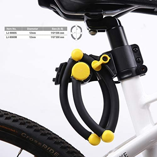 LJ LihJaw 高耐久ハイセキュリティ自転車ロック 折りたたみ式自転車ロックチェーン 12mm 硬質合金スチール 壊れない 格納式自転車ロック マウンテンバイクロック