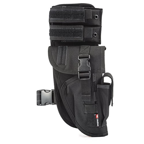 Deluxe Nylon Flashlight Holster (Yakeda Universal Tactical Leg Holster With Magazine Pouch Fully Adjustable And Removable-KF-070)