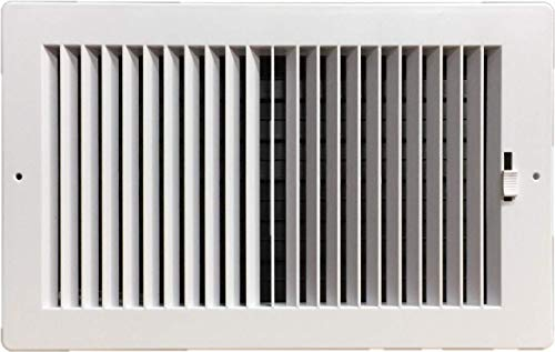 - Two-way plastic register side wall/ceiling air register with multi-shutter damper in white (8