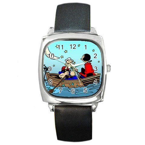 Popeye and Olive Oyl Rowing Boat Classic Cartoon Square Metal Watch (Popeye & Olive Oyl Costumes)