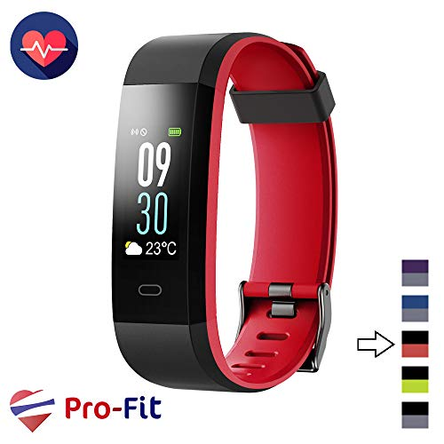 Pro-Fit VeryFitPro Fitness Tracker Color Activity Tracker IP67 Waterproof Heart Rate Sleep Monitor (Black & Red)