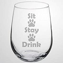 Wine Glass Goblet Funny Dog Cat Animal Lover Sit Stay Drink Paw Prints Stemless Wine Glass Laser Engraved custom Whiskey…