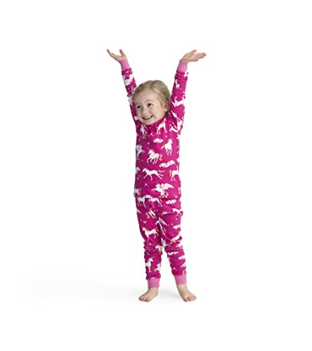 Hatley Big Girls' Organic Cotton Long Sleeve Printed Pajama Sets, Rainbow Unicorns, 7 Years