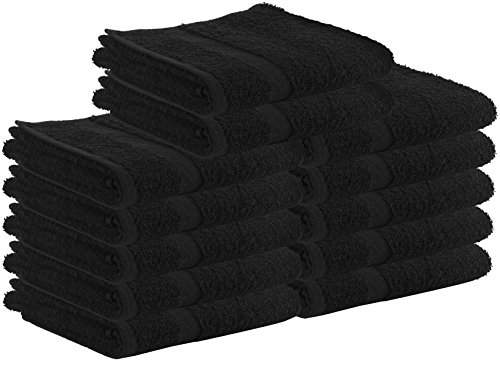 Cotton Salon Towels - Gym Towel - Hand Towel - (24-Pack, Black) - 16 inches x 27 inches - Not Bleach Proof - Ringspun-Cotton, Maximum Softness and Absorbency, Easy Care ? by Utopia Towels
