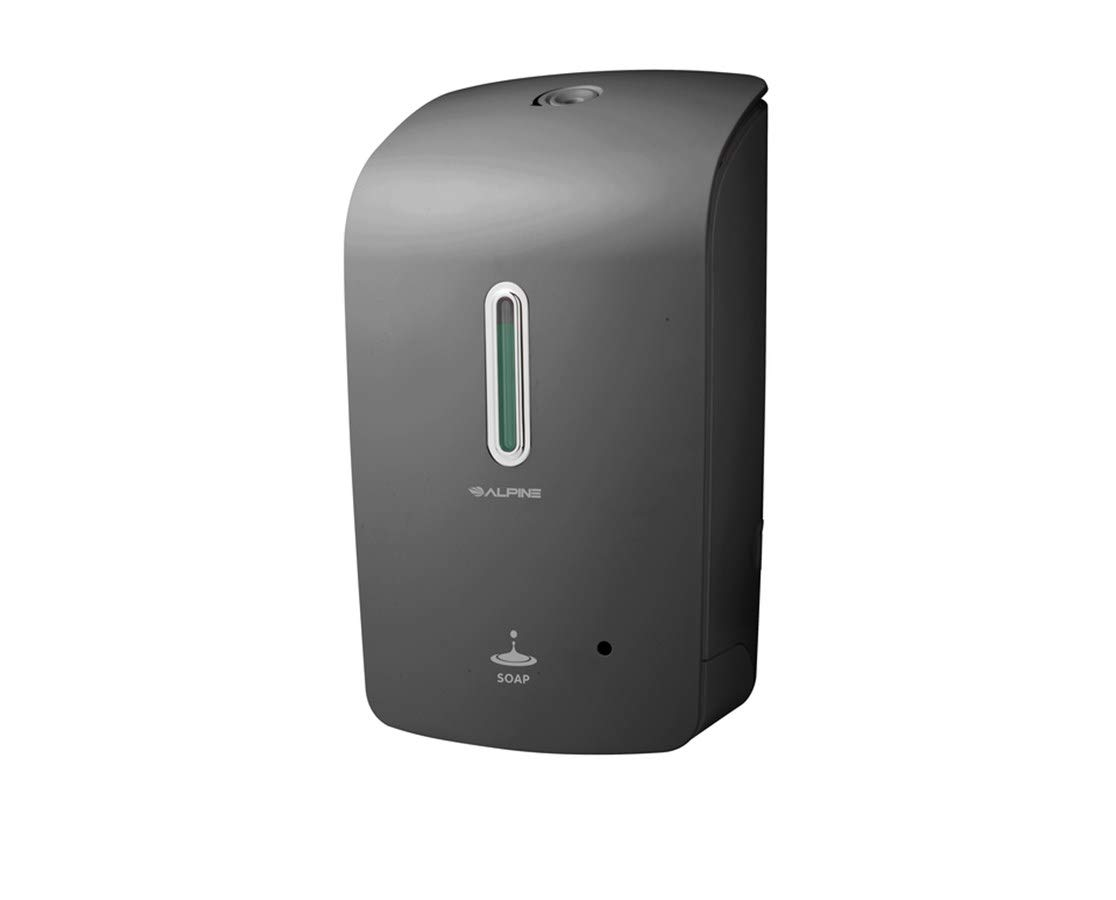Alpine Wall Mountable, Touchless, Universal Liquid Soap Dispenser for Offices, Schools, Warehouses, Food Service Facilities, and Manufacturing Plants, Battery Powered (Grey)