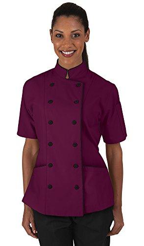 Women's Wine Chef Coat with Piping (XS-3X) (Medium)