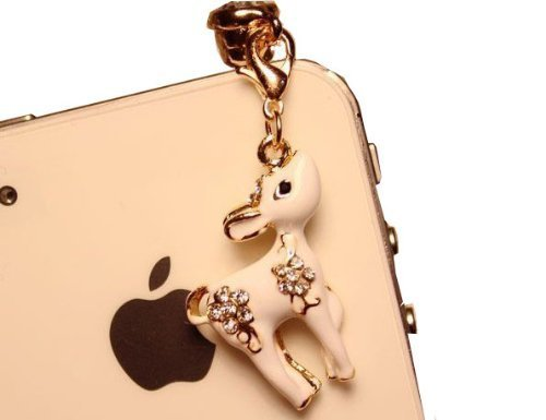 Heart Dangle Phone Charm - CJB Dust Plug / Earphone Jack Accessory Cute White Deer for iPhone 4 4s S4 5 6 6S Plus All Device with 3.5mm Jack (US Seller)